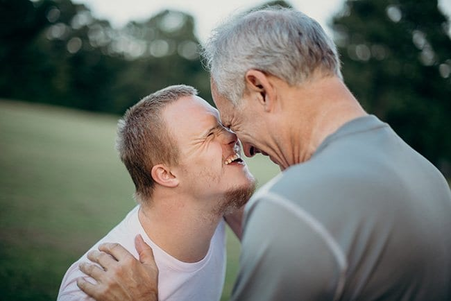 father and son special moment - down syndrome